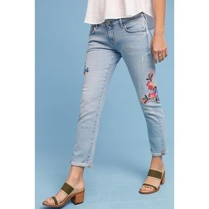 Anthropologie Embroidered Mid-Rise Ankle Jeans